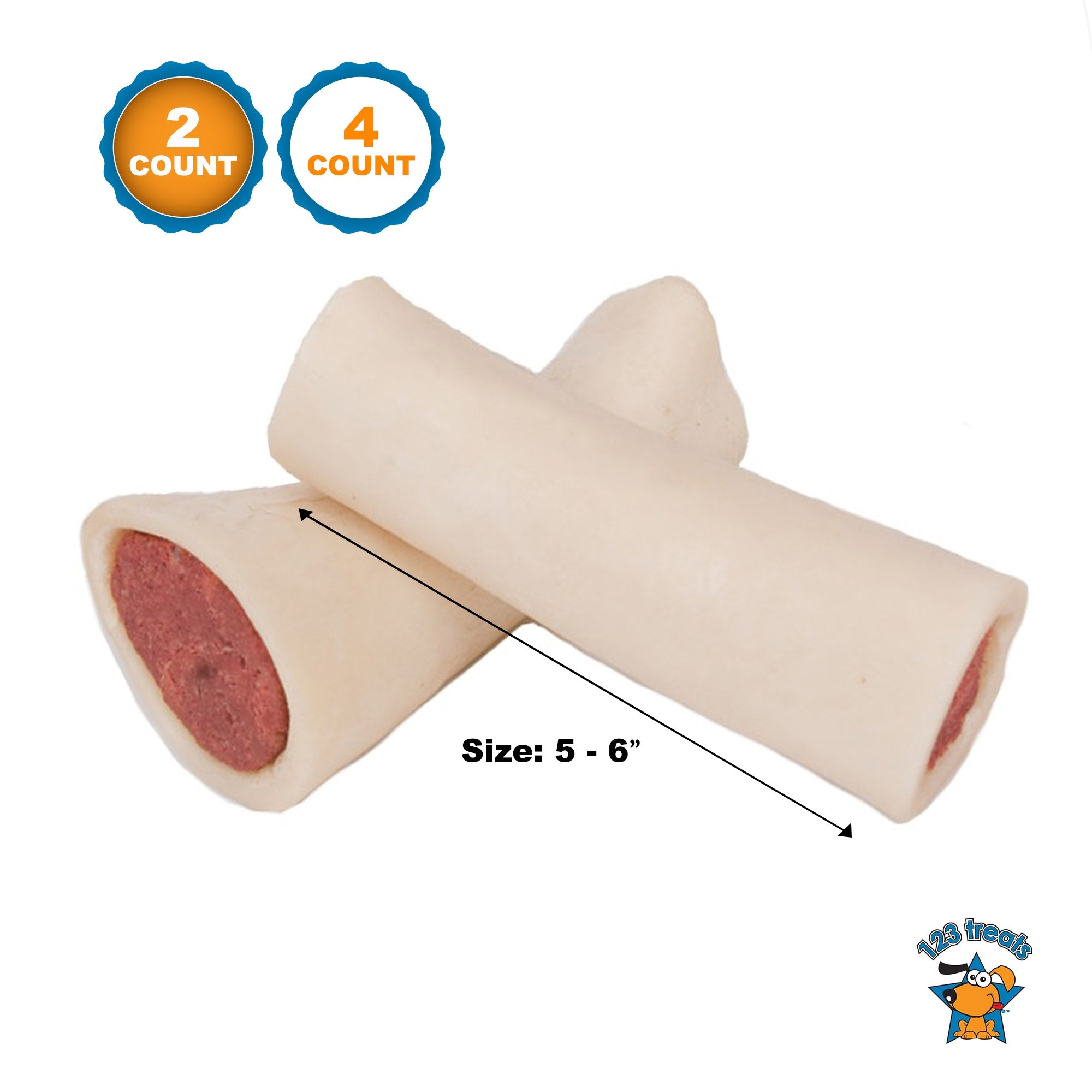 "FILLED DOG BONES 5-6 "" with Peanut Butter Flavor 2 or 4  Count"
