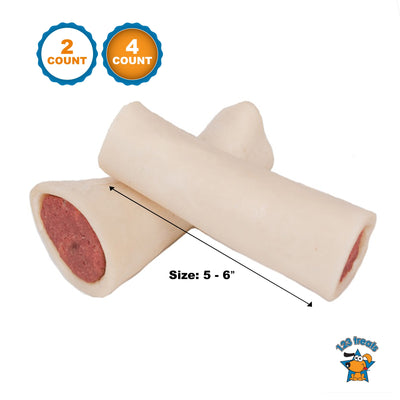 Stuffed Shin BONES for dogs 5-6 inches with Peanut Butter Flavor 2 or 4  Count