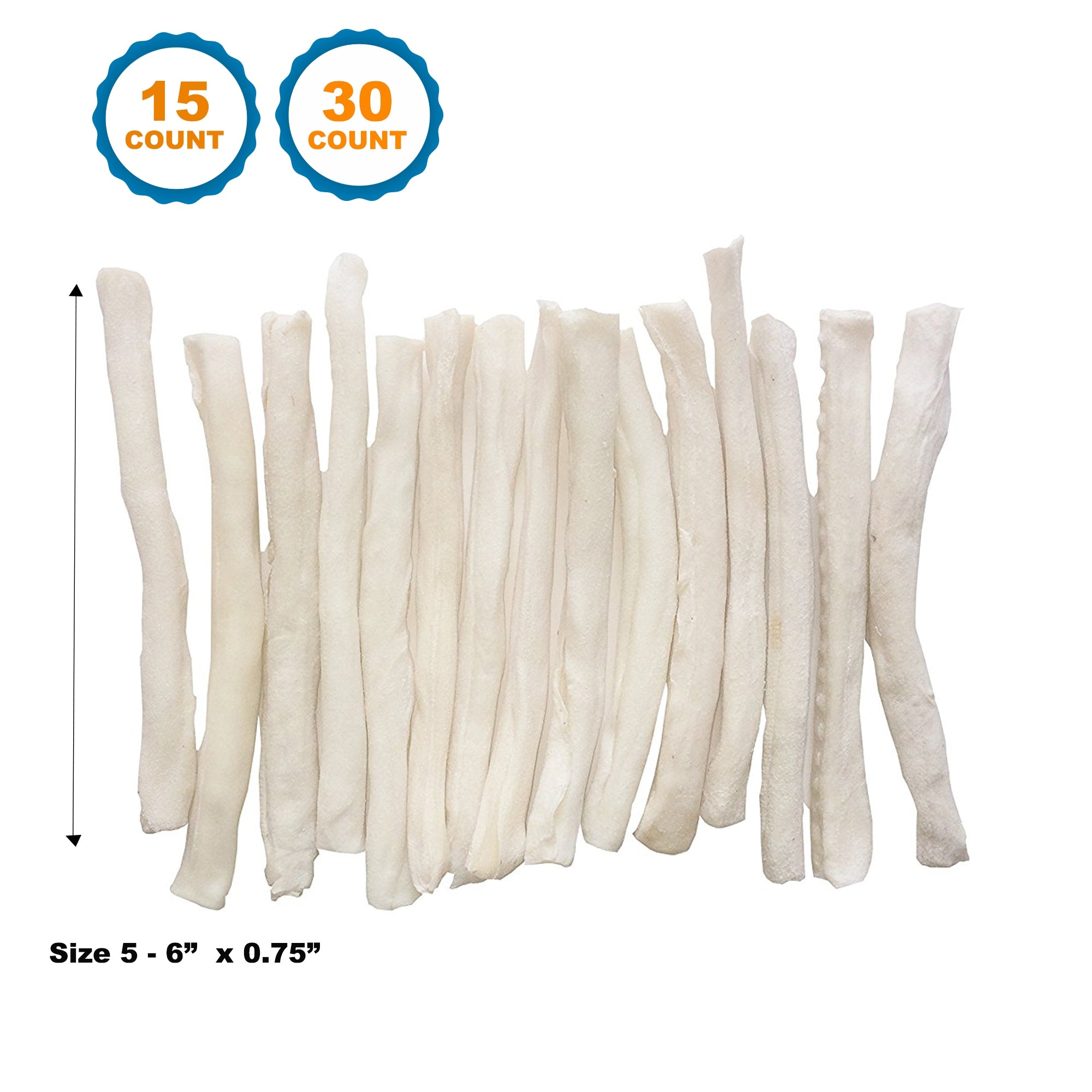 5-6 inches Rawhide Natural Skinny Roll Stick For Dogs 15 or 30 Count