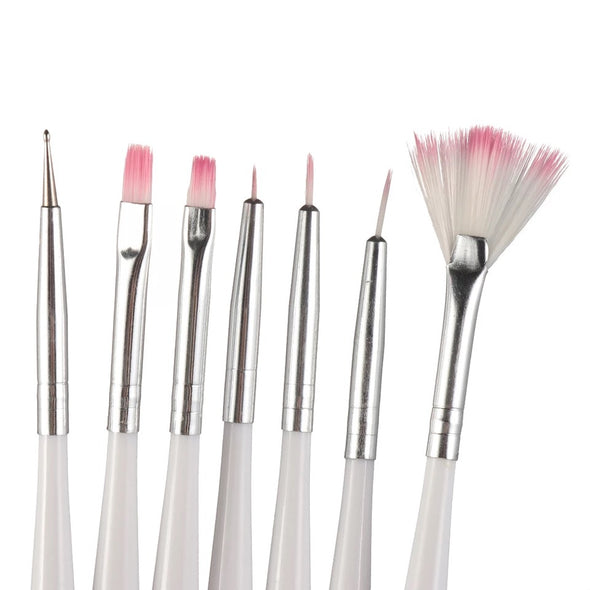 White and Pink Cake Decorating Brush Set 7 Pack