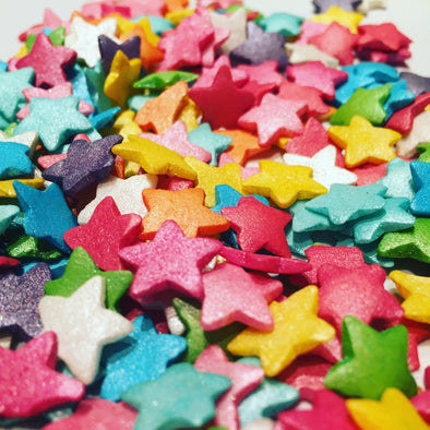 Large Rainbow Glimmer Star Sprinkles - The Shire Bakery