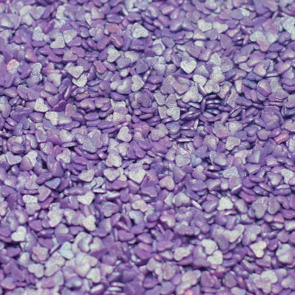 Violet Mini Shimmer Heart Sprinkles - The Shire Bakery