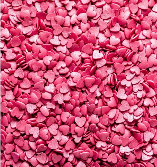 Hot Pink Shimmer Heart Sprinkles - The Shire Bakery