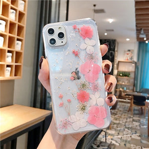 Real Dried Flowers Cases For iPhone X XR XS Max 6 6S 7 8 plus 11 Pro Max Phone Case Luxury Sequins Glitter Soft Handmade Cover
