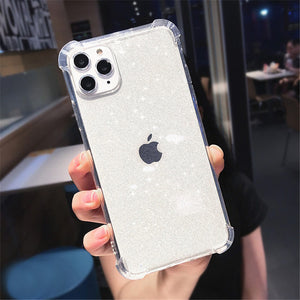 For iPhone 11 Phone Case Glitter Shockproof For iPhone 7 8 6 6s Plus 11 Pro X XR XS Max Transparent Soft TPU Back Cover