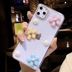 3D Flowers Glitter Phone Case For iPhone 11 Pro 7 8 6 6s Plus X XR XS Max 001