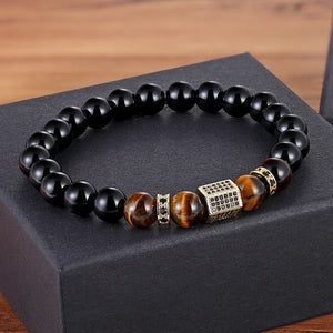 Matte Onyx Stone&Tiger Eye Combination Stitching with Cubic Zircon Hand Jewelry Beads Bracelet Elastic Stretch Men Bracelet