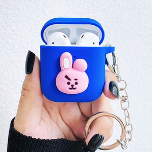 EKONEDA Cartoon Cute Animal Protective Case For Airpods Case Silicone Soft Candy Colors Cover For Airpods With Chain