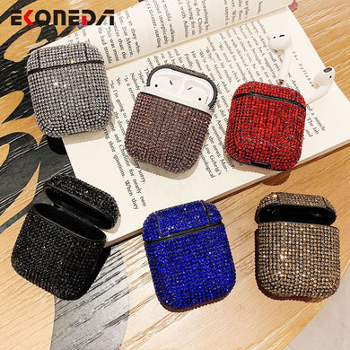 EKONEDA Case For Airpods Luxury Case Hard Girl Diamonds pure color Protective For Airpod cover