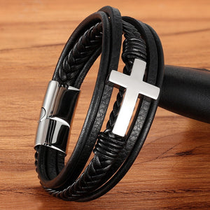 Stainless Steel Fashion Men's Leather Bracelet (008)