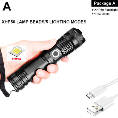 XHP90 LED Flashlight Zoom USB Rechargeable Power Display Powerful Torch 18650 26650 Handheld Light