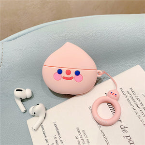 Cartoon 3D avocado Peach wireless For iPhone airpods Pro 1 2 3 For iPhone headset Case Soft silicone Cover Case With the Ring