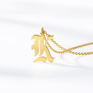 Initial Necklace Women Letter Necklaces For Women Stainless Steel Gold Chains A-Z Letters Old English Font Chain collier цепь