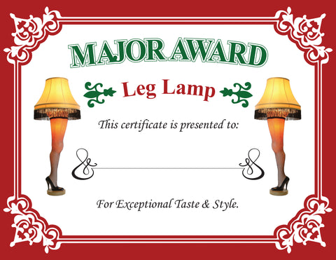 Major Award Leg Lamp Certificate