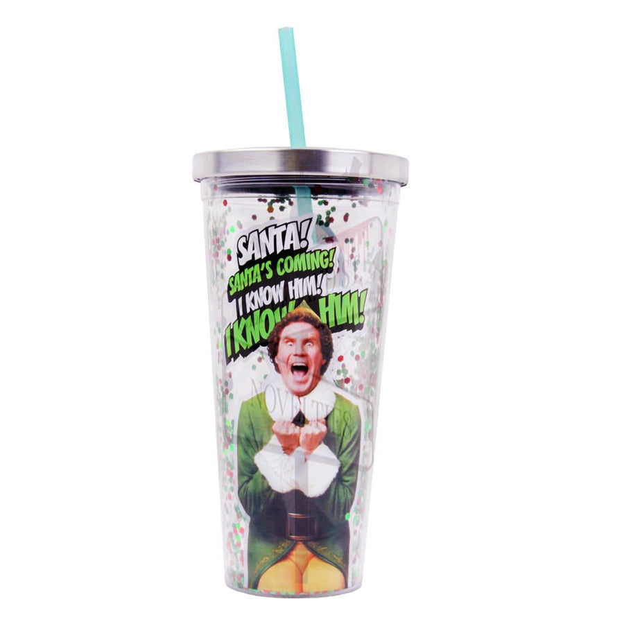 Santa's Coming 20oz Glitter Straw Cup From Elf The Movie