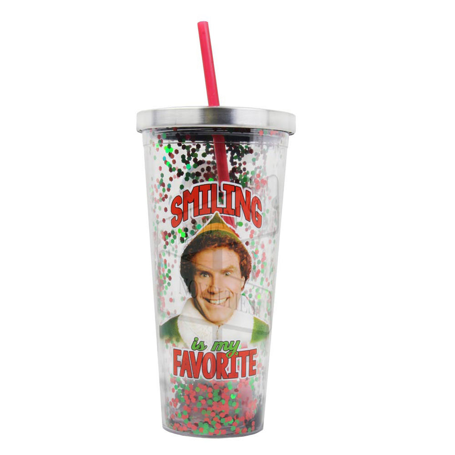 Smiling Is My Favorite 20oz Glitter Straw Cup From Elf The Movie