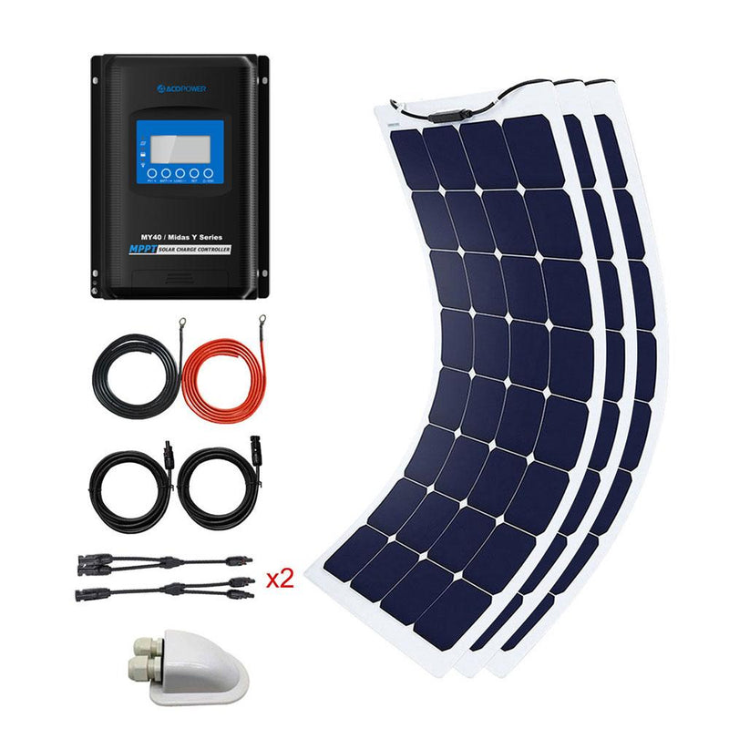 ACOPOWER 3*100W Flexible Solar Kits,330W 40A MPPT Charge Controller