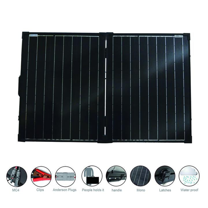 ACOPOWER PTK 100W Portable Solar Panel Kit Briefcase, with 20A Waterproof Charge Controller