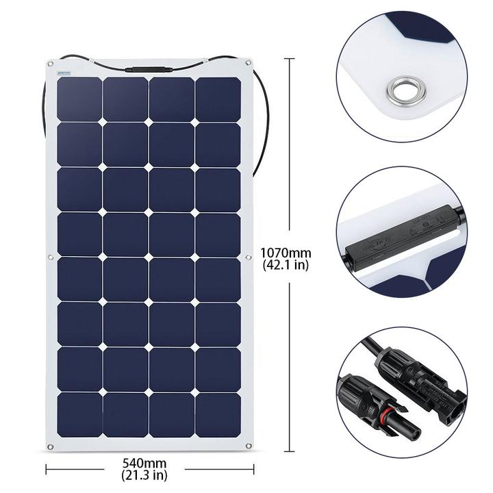 ACOPOWER 220Watts Flexible Solar RV Kit w/ 30A MPPT LCD Charge Controller, Solar Cable Wire,Tray Cable and Y Branch Connectors,Cable Entry Housing for Marine, RV, Boat, Caravan