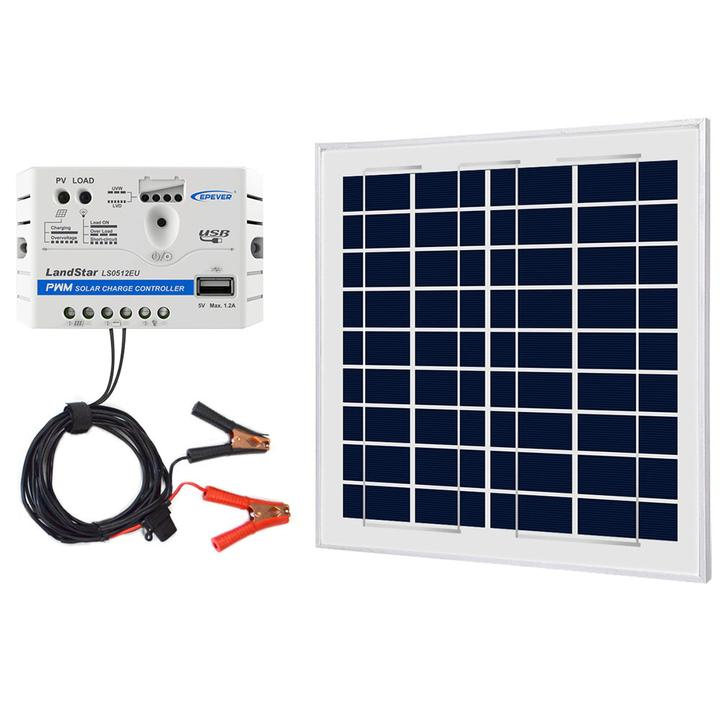 ACOPOWER 15W 12V Solar Charger Kit, 5A Charge Controller with Alligator Clips