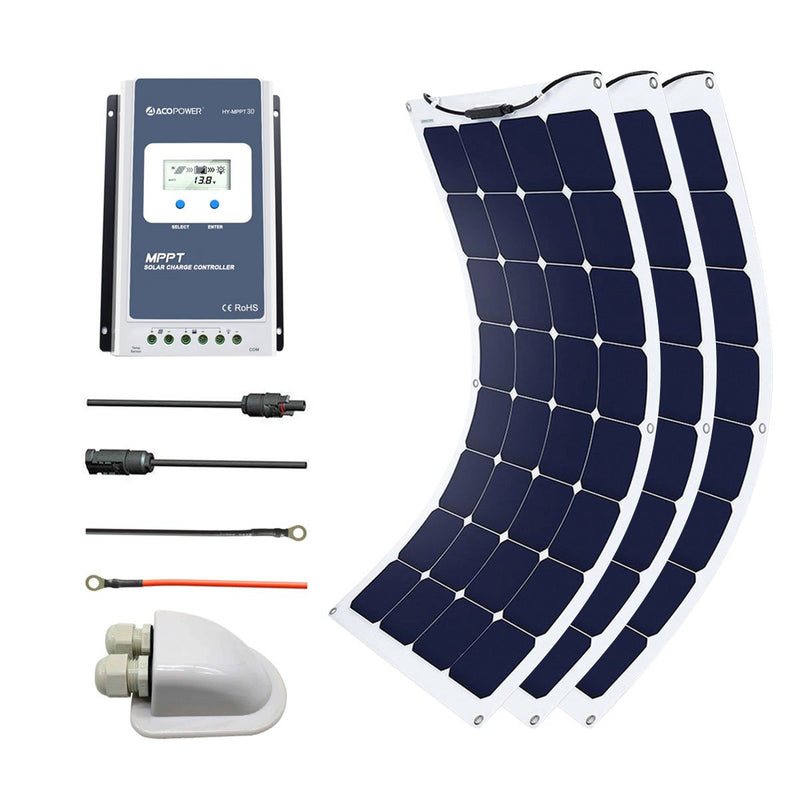 ACOPOWER 330Watts Flexible Solar RV Kit , 30A MPPT Charge Controller