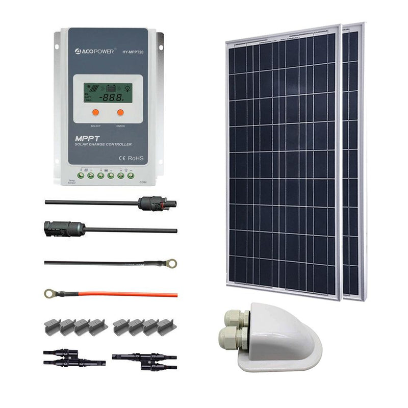 ACOPOWER 200W 12V Poly Solar RV Kits, 20A MPPT Charge Controller