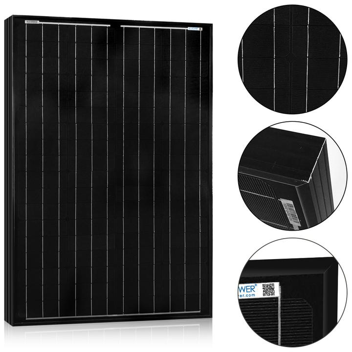ACOPWOER 100 Watts All Black Mono Solar Panel, 12V