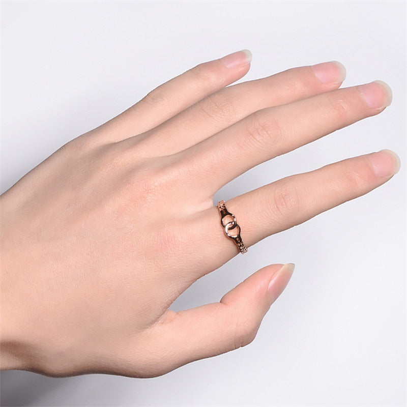 Fashion Loveship 925 Sterling Silver,Rose Gold Handcuffs Design Couple Rings Valentine Day Gift