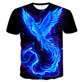 Blue Phoenix Printed T-shirt Unisex Cool 3d Short Sleeve T-shirt