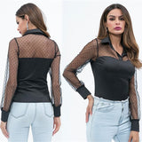 Sexy See-through Polka Dot Printed Lace Patchwork Turn-Down  Elegant Long Sleeve Shirts
