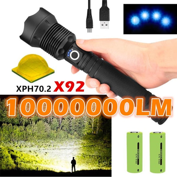 2019 NEW Listing High Light CREE XHP70 Outdoor Hunting High Power LED Flashlight Telescopic Zoom USB Charging 26650 Ultra Bright Camping Tactical Torch