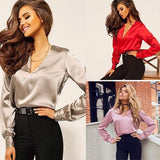 Europe and The United States Deep V-neck Shirt Long-sleeved Spring and Autumn Satin Blouse