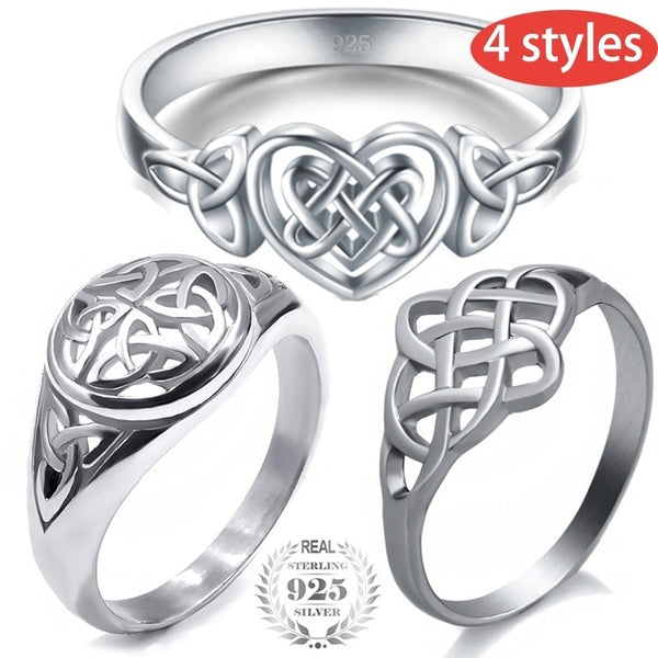 4 Styles Classic Fashion 925 Sterling Silver Celtic Knot Ring Anniversary Ring Fashion Viking Jewelry