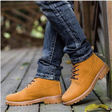 Fashion Men's Outdoor Waterproof Rubber Snow Boots Leather Boot Lightweight Shoes For Men Breathable Casual Outdoor Work Boots
