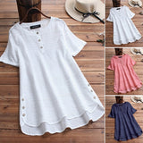 Summer Womens Short Sleeve O Neck Tops Ladies Buttons Cotton Shirts Blouse M-5XL Blusas
