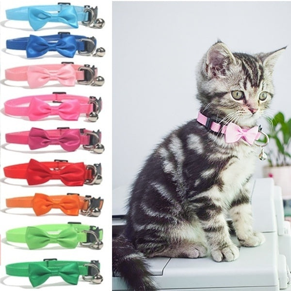 1PC Multicolor Pet Cat Collar Safety Buckle Bow Collar Nylon Ribbon Adjustable with Bells Pet Accessories