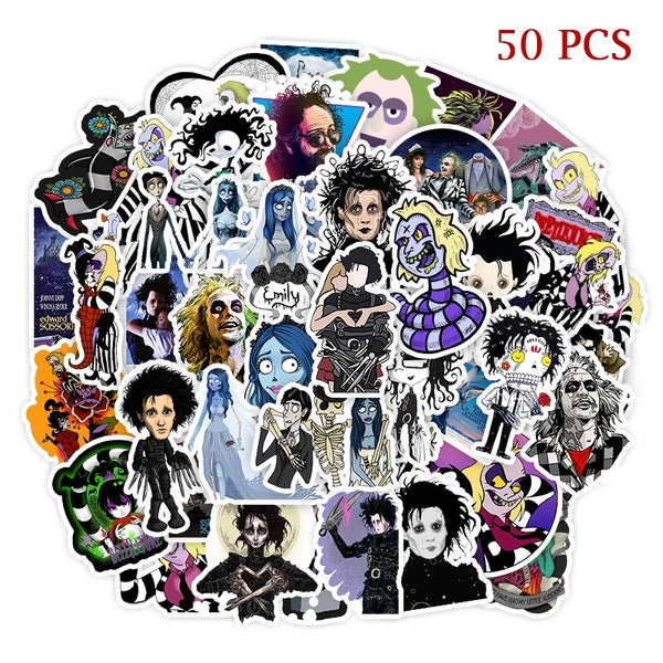 50 Pcs/a pack Tim Burton Movie Beetlejuice / Edward Scissorhands Vinyl Stickers for Diy Bicycle Luggage Decal Graffiti Toy Stickers for Laptop Stickers for Kid and Adult
