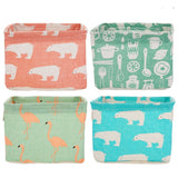 Cute Desktop Storage Basket Animal Printed Storage Bag Cotton Linen Storage Box Cabinet Bedside Wardrobe Closet Storage Bag