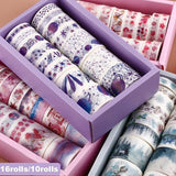 10Rolls/16Rolls Adhesive Masking Washi Tape Scrapbook Sticker Flower Planet Tape Sticky Paper Hand Account Tape