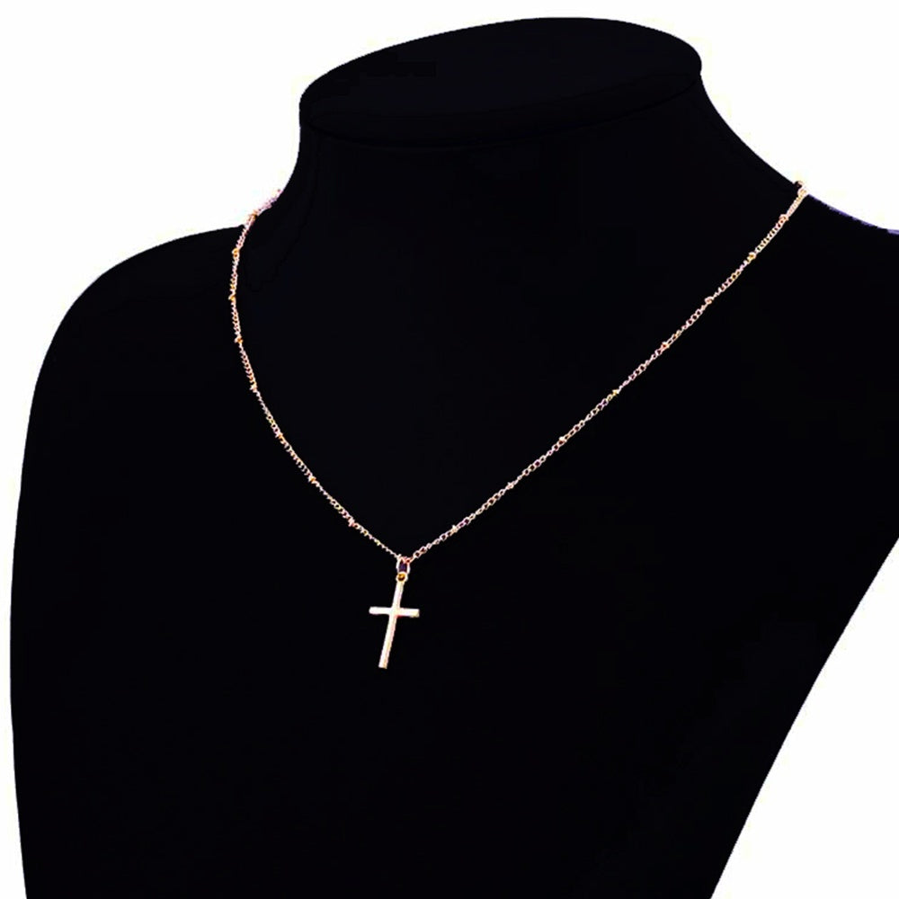 Simple Exquisite Gold Chain Cross Necklace Small Gold Cross Religious Jewelry Women's Necklace