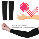 2 pcs UV Sun Protection Cooling Arm Sleeve Cover Sunscreen Oversleeve Sports Athletic Basketball Golf Arm Protector Long Style