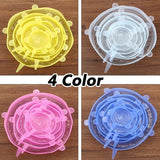 6/12Pcs Food Fresh Keeping Kitchen Tools Wrap Seal Bowl Pot Cover Silicone Stretch Lids