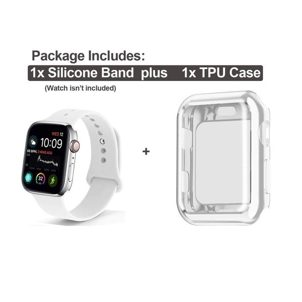2019 Soft Silicone Sport Strap Replacement Band with Screen Protector Cover Case Compatible with IWatch 38/40/42/44MM IWatch Series 1/2/3/4
