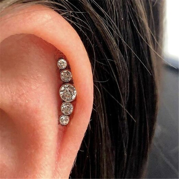 1 Piece Surgical Steel Cartilage Stud Curved Synthetic Crystal  Ear Studs Tragus Helix Earring Piercing