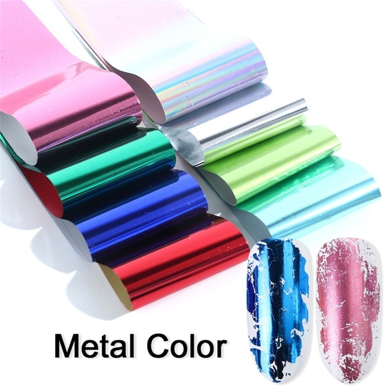 50 Sheets Nail Art Transfer Foils Set Laser Holographic Polish Sticker Charm Metal Decoration Wrap Decals Starry Sky Tips