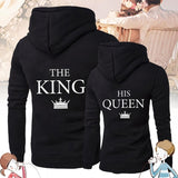 2019 King And Queen Printed Couple Long Sleeves Hoodie Casual Lover Sweatershirt Couple Letter Printed King Queen Hoodies Gifts For Lovers