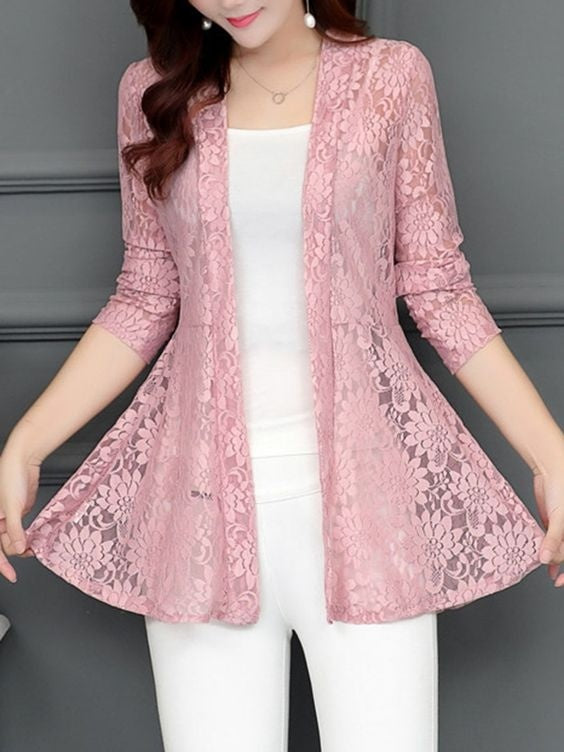 Women Fashion Autumn Long Sleeve Solid Open Front Floral Lace Cardigan Outrwear Blazer Tops