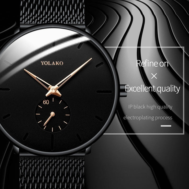 Mens Fashion Classic Black Wristwatch Herren Uhren Luxury Alloy Mesh Belt Ultra Thin Watches Montre Homme Casual Business Leather Quartz Watch Gifts for Men