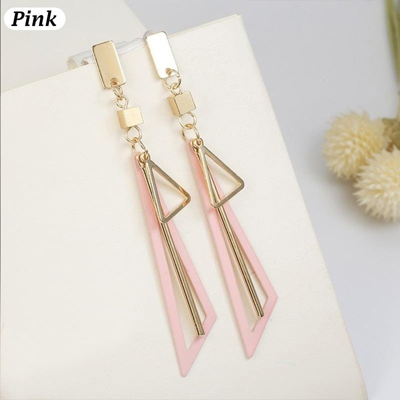 Creative Triangle Tassel Earrings Long Statement Geometric Dangle Drop Earrings For Women Fashion Jewelry 3 Colors