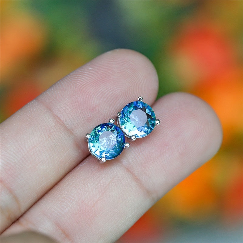 8MM Round Aquamarine Sapphire Earrings 925 Sterling Silver Stud Earrings Exquisite Jewelry
